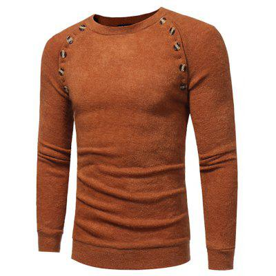Buy CAMEL 3XL Long Sleeve Sweater with Decorative Buttons for $15.76 in GearBest store