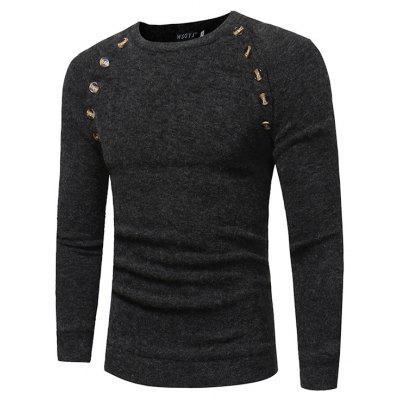 Buy DEEP GRAY 3XL Long Sleeve Sweater with Decorative Buttons for $15.76 in GearBest store