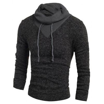 Buy DEEP GRAY XL Men Stylish Splicing Long Sleeves Funnel Neck Sweater for $14.95 in GearBest store