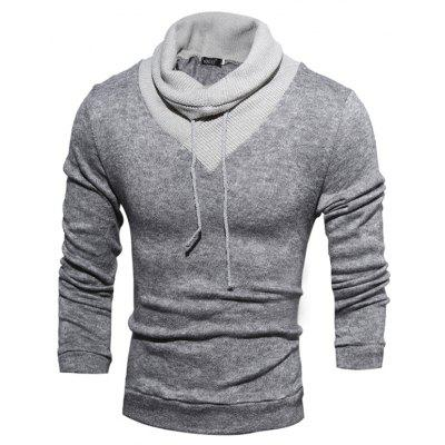 Men Stylish Splicing Long Sleeves Funnel Neck Sweater