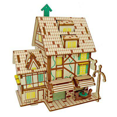 DIY 3D Wooden Coffee House Model Puzzle Intelligence Toy