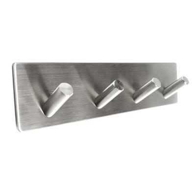 Stylish Storage Hook Rack Stainless Steel with 4 Oblique Hooks
