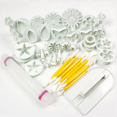 Fondant Cake Decorating Plunger Cutters Tools 46pcs