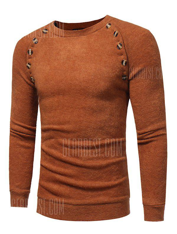 CAMEL 3XL Long Sleeve Sweater with Decorative Buttons