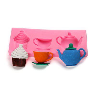 Cute Teapot Cup Design Cake Mold Silicone Candy Bakery Tool