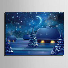 E-HOME LED Print Snowy Night Canvas Wall Art coupons