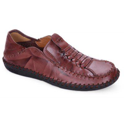 Men Vintage Soft Knitted Stitching Casual Oxford Shoes