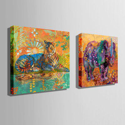 E - HOME Canvas Prints Animals Hanging Wall Art 2PCSPrints<br>E - HOME Canvas Prints Animals Hanging Wall Art 2PCS<br><br>Brand: E-HOME<br>Craft: Print<br>Form: Two Panels<br>Material: Canvas<br>Package Contents: 2 x Print<br>Package size (L x W x H): 70.00 x 5.00 x 5.00 cm / 27.56 x 1.97 x 1.97 inches<br>Package weight: 0.3700 kg<br>Painting: Without Inner Frame<br>Product size (L x W x H): 60.00 x 60.00 x 0.20 cm / 23.62 x 23.62 x 0.08 inches<br>Product weight: 0.2000 kg<br>Shape: Square<br>Style: Modern<br>Subjects: Animal<br>Suitable Space: Living Room