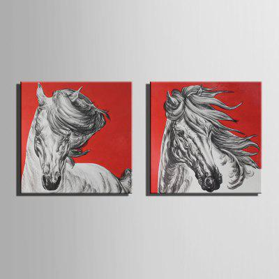 E - HOME Canvas Prints Horses Hanging Wall Art 2PCS