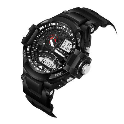 SYNOKE 67876 Men Outdoor Sporty Digital Quartz WatchMens Watches<br>SYNOKE 67876 Men Outdoor Sporty Digital Quartz Watch<br><br>Band material: PU<br>Brand: Synoke<br>Case material: ABS<br>Clasp type: Pin buckle<br>Dial size: 5.4 x 5.4 x 1.7 cm<br>Display type: Analog-Digital<br>Movement type: Quartz + digital watch<br>Package Contents: 1 x Watch<br>Package size (L x W x H): 28.00 x 7.40 x 3.70 cm / 11.02 x 2.91 x 1.46 inches<br>Package weight: 0.0833 kg<br>Product size (L x W x H): 26.00 x 5.40 x 1.70 cm / 10.24 x 2.13 x 0.67 inches<br>Product weight: 0.0633 kg<br>Shape of the dial: Round<br>Special features: Date, Alarm Clock, Light, Stopwatch<br>Watch mirror: Acrylic<br>Watch style: Fashion, Cool, Military, Casual, Outdoor Sports, Trends in outdoor sports<br>Watches categories: Men<br>Water resistance: 50 meters