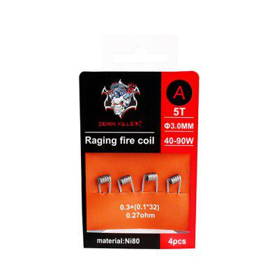 Demon Killer Raging Fire Coil 4pcsAccessories<br>Demon Killer Raging Fire Coil 4pcs<br><br>Brand: Demon Killer<br>Material: Nickel<br>Package Contents: 4 x Heating Wire<br>Package size (L x W x H): 6.50 x 1.50 x 9.50 cm / 2.56 x 0.59 x 3.74 inches<br>Package weight: 0.0120 kg<br>Product size (L x W x H): 3.00 x 0.60 x 0.50 cm / 1.18 x 0.24 x 0.2 inches<br>Product weight: 0.0100 kg