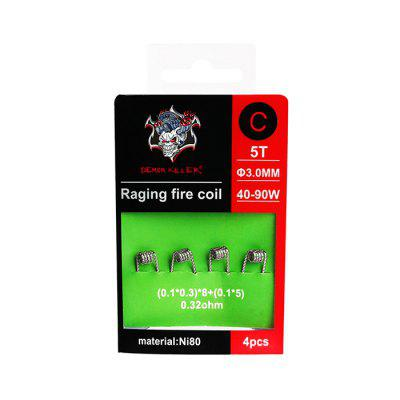 Demon Killer Raging Fire Coil DIY Tool 4pcsAccessories<br>Demon Killer Raging Fire Coil DIY Tool 4pcs<br><br>Brand: Demon Killer<br>Material: Nickel<br>Package Contents: 4 x Heating Wire<br>Package size (L x W x H): 6.50 x 1.50 x 9.50 cm / 2.56 x 0.59 x 3.74 inches<br>Package weight: 0.0120 kg<br>Product size (L x W x H): 3.00 x 0.60 x 0.50 cm / 1.18 x 0.24 x 0.2 inches<br>Product weight: 0.0100 kg