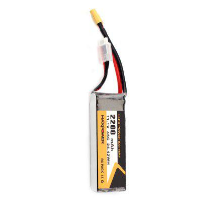 MXPOWER 11.1V 2200mAh 45C LiPo BatteryRC Airplane Parts<br>MXPOWER 11.1V 2200mAh 45C LiPo Battery<br><br>Package Contents: 1 x Battery<br>Package size (L x W x H): 5.00 x 5.00 x 12.00 cm / 1.97 x 1.97 x 4.72 inches<br>Package weight: 0.1850 kg<br>Product size (L x W x H): 2.50 x 3.40 x 10.50 cm / 0.98 x 1.34 x 4.13 inches<br>Product weight: 0.1800 kg<br>Type: Battery