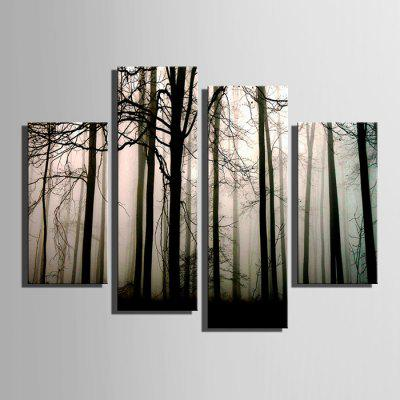 E - HOME Fog Forest Design Print Canvas Decor Wall Painting 4pcs