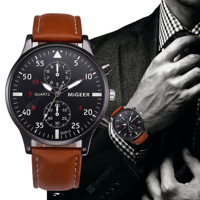 MIGEER 2013 Trendy Leather Band Men Quartz Watch