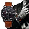 2013 Trendy Leather Band Men Quartz Watch - BROWN