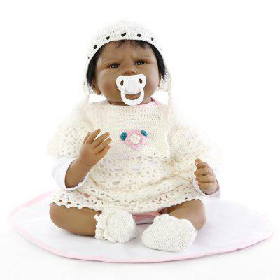 Simulation Soft Silicone Black Skin Baby Doll Toy