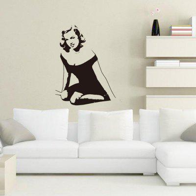 DIY Sexy Woman Design Wall Sticker Removable PVC Decal removable sexy hair spa female face sticker art decor mural design for indroom decoration