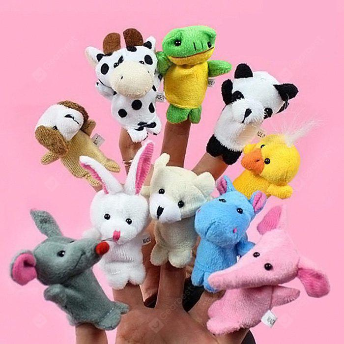 Bedtime Story Cartoon Animal Plush Finger Puppet Toy 10pcs - COLORMIX