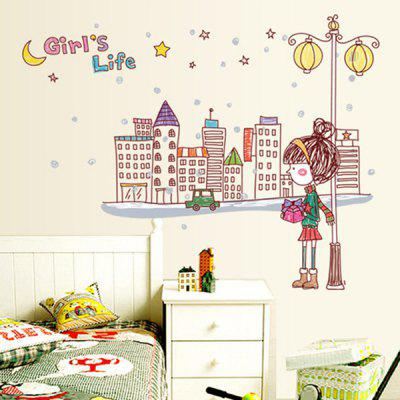 Decorative Wall Sticker Set City Girl Mural Decals
