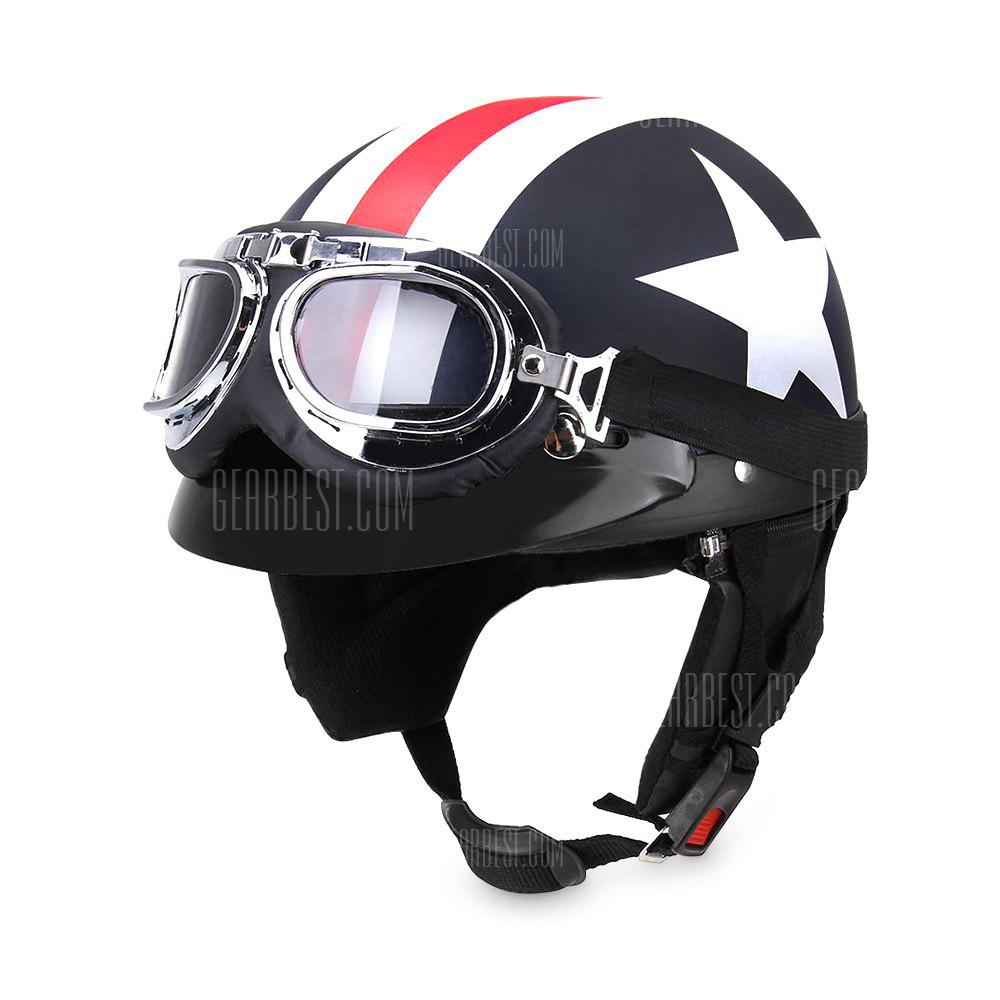 Gearbest YKT - AB261 Motorcycle Helmet with Goggles Visor Scarf - COLORMIX
