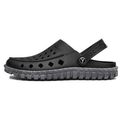 Men Simple Soft Hollow Two Wear Sandals SlippersMens Slippers<br>Men Simple Soft Hollow Two Wear Sandals Slippers<br><br>Closure Type: Slip-On<br>Contents: 1 x Pair of Shoes, 1 x Box, 1 x Dustproof Paper<br>Decoration: Hollow Out<br>Function: Slip Resistant<br>Materials: PVC<br>Occasion: Shopping, Rainy Day, Outdoor Clothing, Holiday, Daily, Beach, Casual<br>Outsole Material: PVC<br>Package Size ( L x W x H ): 33.00 x 22.00 x 11.00 cm / 12.99 x 8.66 x 4.33 inches<br>Package weight: 0.6500 kg<br>Pattern Type: Solid<br>Product weight: 0.5000 kg<br>Seasons: Spring,Summer<br>Style: Modern, Leisure, Fashion, Comfortable, Casual<br>Toe Shape: Round Toe<br>Type: Sandals<br>Upper Material: PVC