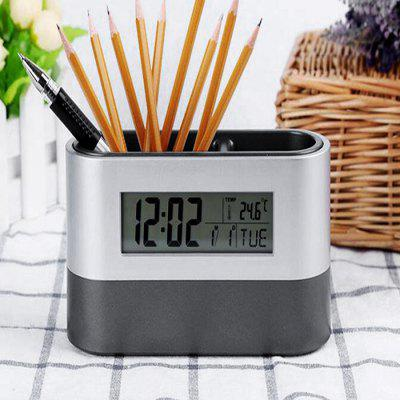 Pen Holder Desk Clock LCD Screen Calendar for OfficeClocks<br>Pen Holder Desk Clock LCD Screen Calendar for Office<br><br>Material: ABS<br>Package Contents: 1 x Table Clock<br>Package Quantity: 1<br>Package size (L x W x H): 15.00 x 9.00 x 5.00 cm / 5.91 x 3.54 x 1.97 inches<br>Package weight: 0.1880 kg<br>Powered by: 2 x AAA battery<br>Product size (L x W x H): 14.50 x 8.00 x 4.50 cm / 5.71 x 3.15 x 1.77 inches<br>Product weight: 0.1500 kg<br>Style: Modern<br>Time Display: Digital<br>Type: Table Clock
