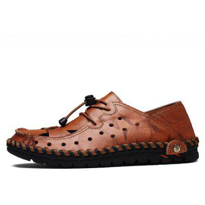 Men Stylish Grained Hollow Soft Stitching SandalsMens Sandals<br>Men Stylish Grained Hollow Soft Stitching Sandals<br><br>Closure Type: Elastic band<br>Contents: 1 x Pair of Shoes, 1 x Box<br>Decoration: Hollow Out<br>Function: Slip Resistant<br>Materials: Leather, Rubber<br>Occasion: Tea Party, Shopping, Rainy Day, Party, Outdoor Clothing, Office, Casual, Daily, Holiday<br>Outsole Material: Rubber<br>Package Size ( L x W x H ): 32.00 x 21.00 x 13.00 cm / 12.6 x 8.27 x 5.12 inches<br>Package weight: 0.7900 kg<br>Product weight: 0.6500 kg<br>Seasons: Spring,Summer<br>Style: Modern, Leisure, Fashion, Comfortable, Casual<br>Toe Shape: Round Toe<br>Type: Sandals<br>Upper Material: Leather