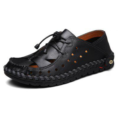Men Stylish Grained Hollow Soft Stitching Sandals в магазине GearBest