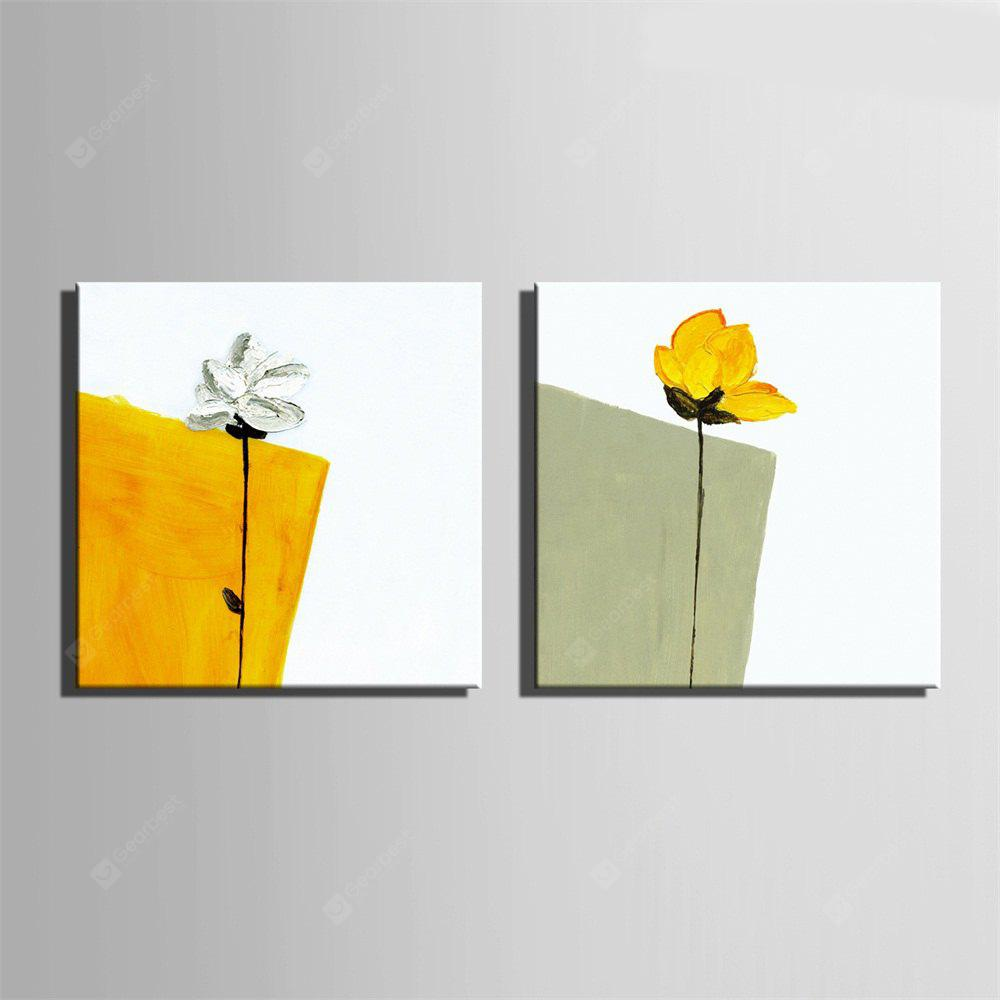 Combination Gray and Yellow Flower Pattern Modern Painting Wall Art Print 2pcs