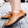 Men Stylish Grained Hollow Soft Stitching Sandals - YELLOW-BROWN