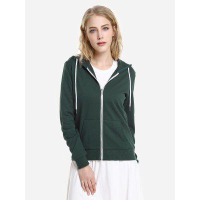 Contraste Drawstring Zip Up Fleece Hoodie