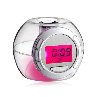 Color-changing Transparent Alarm Clock with LCD Display