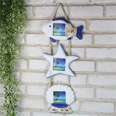 Fresh Fish Star Shell Wooden Wall Hanging Photo Frame