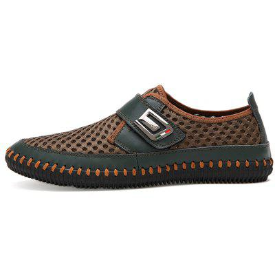 Men Business Soft Hollow Casual Flat LoafersFlats &amp; Loafers<br>Men Business Soft Hollow Casual Flat Loafers<br><br>Closure Type: Hook / Loop<br>Contents: 1 x Pair of Shoes, 1 x Box<br>Decoration: Hollow Out<br>Function: Slip Resistant<br>Materials: Mesh, Rubber, Leather<br>Occasion: Tea Party, Party, Office, Casual, Daily, Shopping, Dress, Holiday<br>Outsole Material: Rubber<br>Package Size ( L x W x H ): 32.00 x 21.00 x 13.00 cm / 12.6 x 8.27 x 5.12 inches<br>Package weight: 0.7100 kg<br>Product weight: 0.5600 kg<br>Seasons: Autumn,Spring,Summer<br>Style: Modern, Business, Casual, Comfortable, Fashion, Formal, Leisure<br>Toe Shape: Round Toe<br>Type: Flat Shoes<br>Upper Material: Leather,Mesh