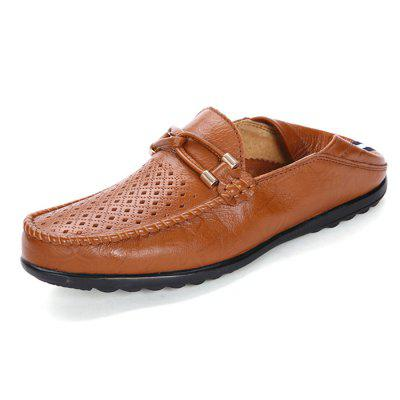 Men Business Hollow Casual Flat LoafersFlats &amp; Loafers<br>Men Business Hollow Casual Flat Loafers<br><br>Closure Type: Slip-On<br>Contents: 1 x Pair of Shoes, 1 x Box<br>Decoration: Hollow Out<br>Function: Slip Resistant<br>Materials: Rubber, Leather<br>Occasion: Tea Party, Shopping, Office, Holiday, Casual, Party, Daily, Dress, Formal<br>Outsole Material: Rubber<br>Package Size ( L x W x H ): 31.00 x 21.00 x 12.00 cm / 12.2 x 8.27 x 4.72 inches<br>Package weight: 0.8000 kg<br>Pattern Type: Solid<br>Product weight: 0.6500 kg<br>Seasons: Autumn,Spring,Summer<br>Style: Modern, Business, Casual, Comfortable, Fashion, Formal, Leisure<br>Toe Shape: Round Toe<br>Type: Flat Shoes<br>Upper Material: Leather