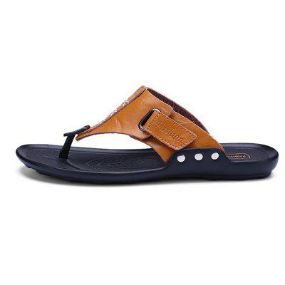 Men Beach Trendy Leather Flip-flops SlipperMens Slippers<br>Men Beach Trendy Leather Flip-flops Slipper<br><br>Contents: 1 x Pair of Shoes, 1 x Box<br>Function: Slip Resistant<br>Materials: Rubber, Leather<br>Occasion: Shopping, Daily, Casual, Beach<br>Outsole Material: Rubber<br>Package Size ( L x W x H ): 33.00 x 22.00 x 11.00 cm / 12.99 x 8.66 x 4.33 inches<br>Package weight: 0.5500 kg<br>Product weight: 0.4000 kg<br>Seasons: Summer<br>Style: Leisure, Fashion, Comfortable<br>Type: Slippers<br>Upper Material: Leather