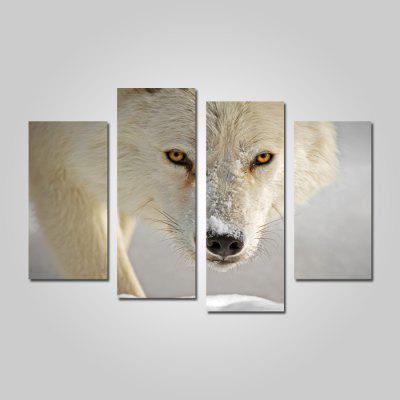 God Painting 2201 Snow Fox Canvas Print 4PCS