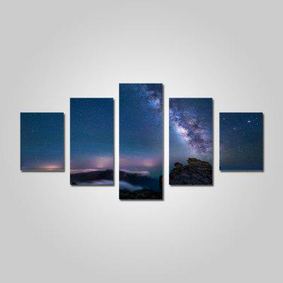 God Painting 2219 Night Landscape Canvas Print 5PCS