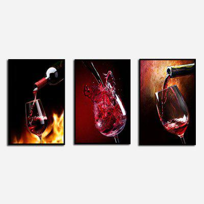 AY - BS42 Modern Red Wine Glass Oil Painting 3pcs