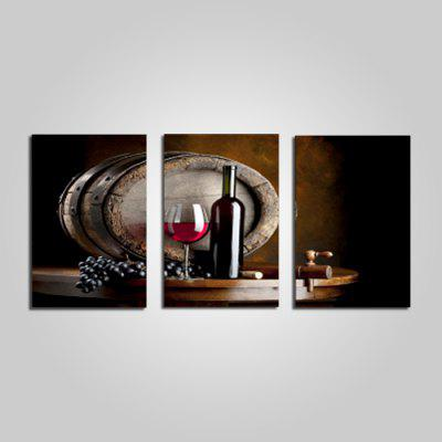 Unframed Red Wine Glass Design Print 3PCS