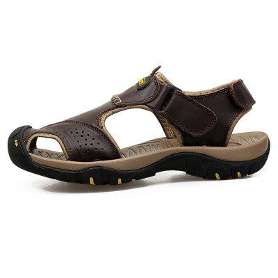 Men Trendy Breathable Anti-slip Leather SandalsMens Sandals<br>Men Trendy Breathable Anti-slip Leather Sandals<br><br>Closure Type: Hook / Loop<br>Contents: 1 x Pair of Shoes, 1 x Box<br>Function: Slip Resistant<br>Materials: Rubber, Leather<br>Occasion: Beach, Casual, Daily, Shopping<br>Outsole Material: Rubber<br>Package Size ( L x W x H ): 33.00 x 24.00 x 13.00 cm / 12.99 x 9.45 x 5.12 inches<br>Package weight: 0.8000 kg<br>Product weight: 0.6000 kg<br>Seasons: Summer<br>Style: Leisure, Fashion, Casual<br>Type: Sandals<br>Upper Material: Leather