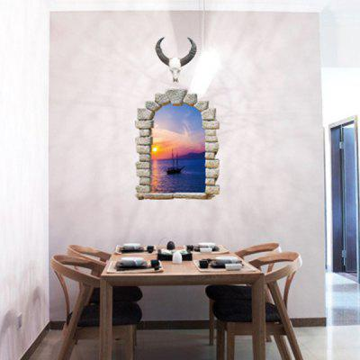 PVC Wall Sticker 3D Sunset Landscape Style Mural Decal the afloat sunset dock wall sticker
