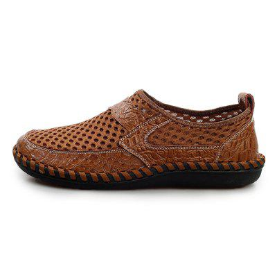 Men Vintage Soft Cool Manual Casual Flat LoafersFlats &amp; Loafers<br>Men Vintage Soft Cool Manual Casual Flat Loafers<br><br>Closure Type: Slip-On<br>Contents: 1 x Pair of Shoes, 1 x Box, 1 x Dustproof Paper<br>Function: Slip Resistant<br>Materials: Mesh, Rubber, Leather<br>Occasion: Tea Party, Shopping, Outdoor Clothing, Office, Casual, Party, Daily, Holiday<br>Outsole Material: Rubber<br>Package Size ( L x W x H ): 33.00 x 24.00 x 13.00 cm / 12.99 x 9.45 x 5.12 inches<br>Package weight: 0.7000 kg<br>Product weight: 0.5000 kg<br>Seasons: Autumn,Spring,Summer<br>Style: Modern, Leisure, Fashion, Comfortable, Casual<br>Toe Shape: Round Toe<br>Type: Flat Shoes<br>Upper Material: Leather,Mesh