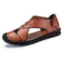 Men Clic Soft Hollow Casual Leather Sandals