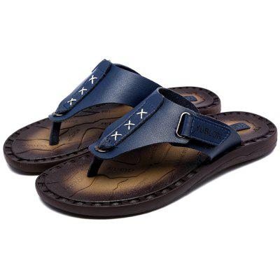 Men Breathable Anti-slip PU Leather Flip-flops SlipperMens Slippers<br>Men Breathable Anti-slip PU Leather Flip-flops Slipper<br><br>Contents: 1 x Pair of Shoes, 1 x Box<br>Function: Slip Resistant<br>Materials: PU, Rubber, EVA<br>Occasion: Tea Party, Daily, Casual, Beach, Shopping<br>Outsole Material: EVA,Rubber<br>Package Size ( L x W x H ): 30.00 x 18.00 x 10.00 cm / 11.81 x 7.09 x 3.94 inches<br>Package weight: 0.8000 kg<br>Product weight: 0.7000 kg<br>Seasons: Summer<br>Style: Leisure, Fashion, Comfortable<br>Type: Slippers<br>Upper Material: PU
