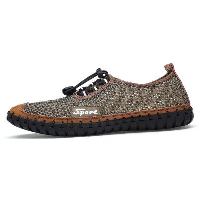 Men Trendy Summer Breathable ShoesFlats &amp; Loafers<br>Men Trendy Summer Breathable Shoes<br><br>Closure Type: Elastic band<br>Contents: 1 x Pair of Shoes, 1 x Box<br>Function: Slip Resistant<br>Materials: Rubber, Leather, Mesh Fabric<br>Occasion: Shopping, Holiday, Daily, Casual, Beach<br>Outsole Material: Rubber<br>Package Size ( L x W x H ): 32.00 x 21.00 x 13.00 cm / 12.6 x 8.27 x 5.12 inches<br>Package weight: 0.6500 kg<br>Product weight: 0.5000 kg<br>Seasons: Summer<br>Style: Leisure, Fashion, Comfortable<br>Toe Shape: Round Toe<br>Type: Flat Shoes<br>Upper Material: Leather,Mesh Fabric