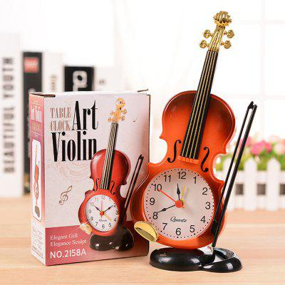 Violin Shape Table Clock for Office Home Decoration