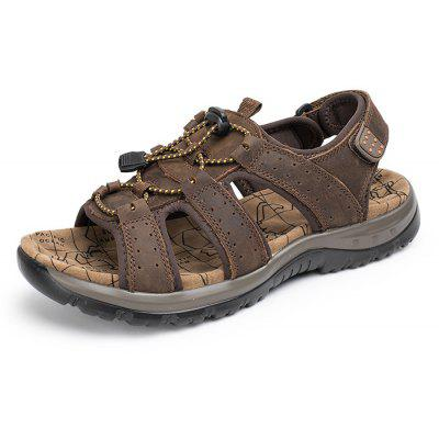 Men Leisure Adjustable Anti-slip Leather Sandals
