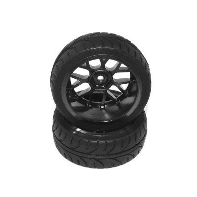 122023 1/10 Rubber Tire On Road Wheel 2pcs